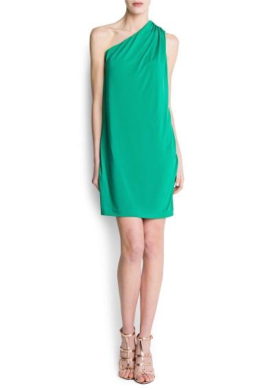 Mango Gathered Detail Asymmetric Dress