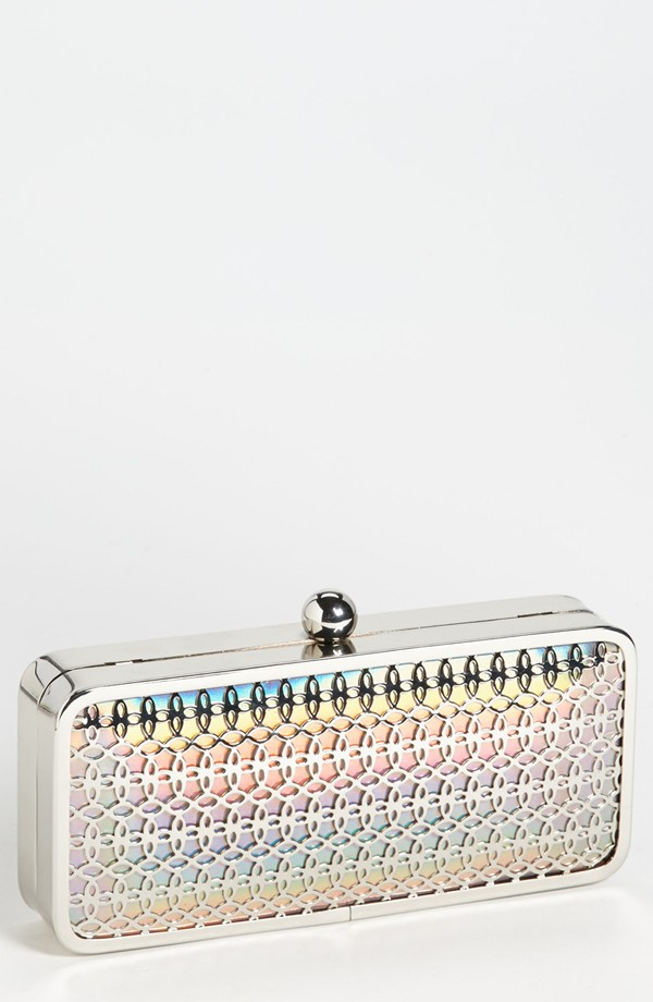 Jessica McClintock Iridescent Faux Leather Minaudiere