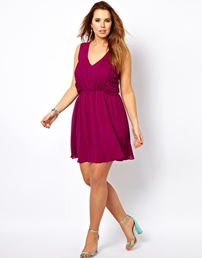 Asos Curve Skater Dress With Ruched Bust