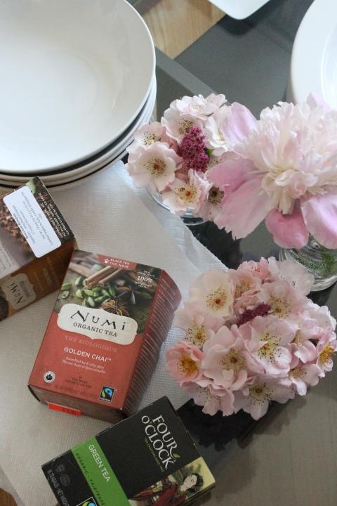Organic teas. Flowers from my friend Aleni's garden.