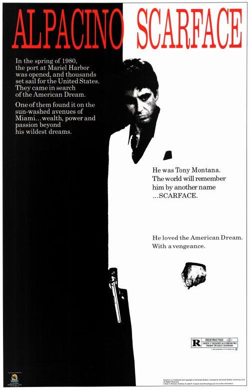 Al Pacino Movie Cinema Poster SCARFACE 1983 Brian De Palma Film Art Print