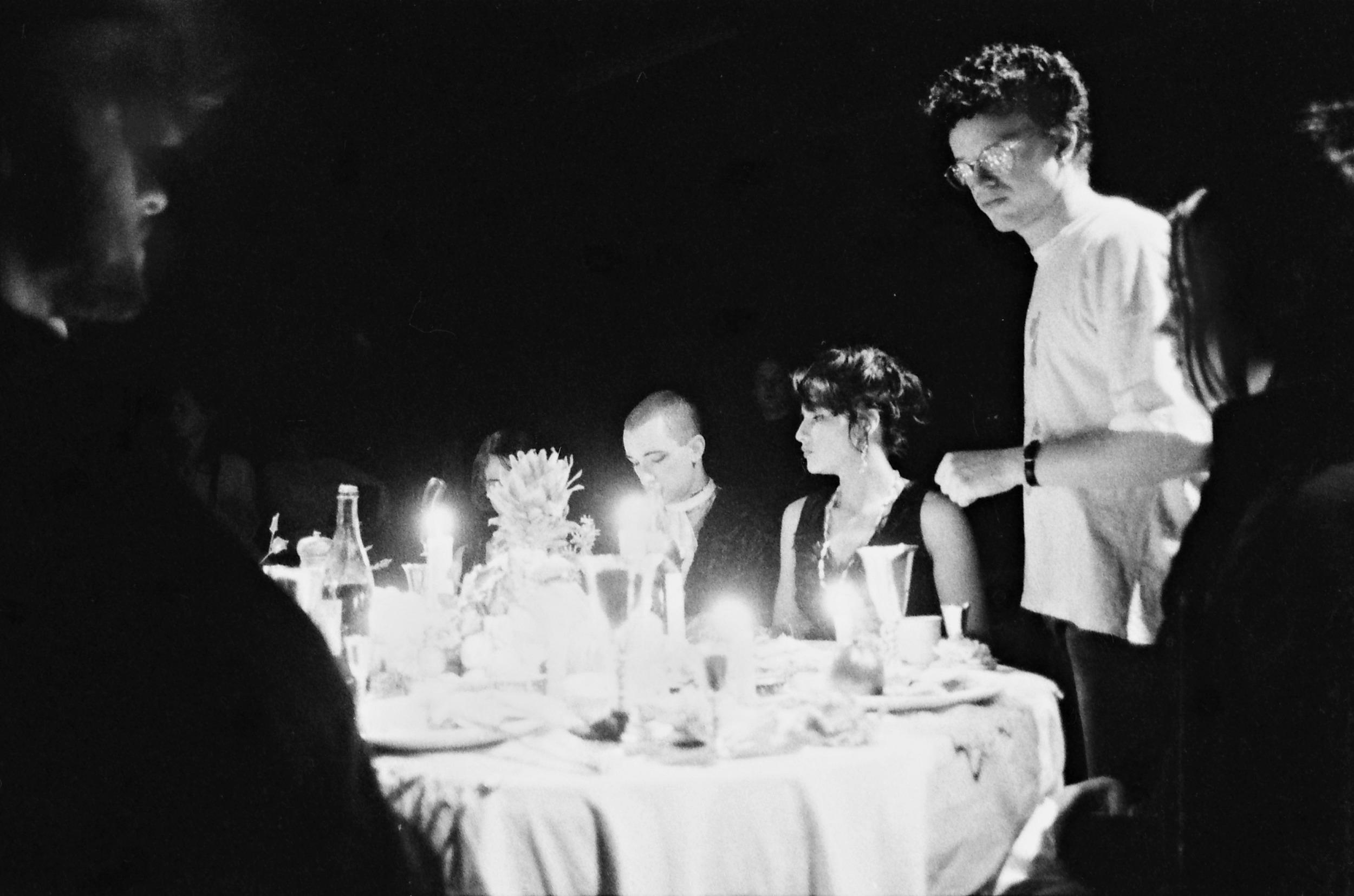 Directing the dinner scene.