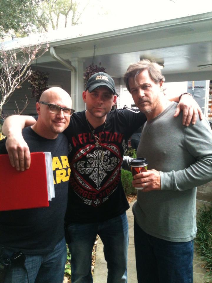 Producer Danny Broussard, John Fallon, and Michael Paré