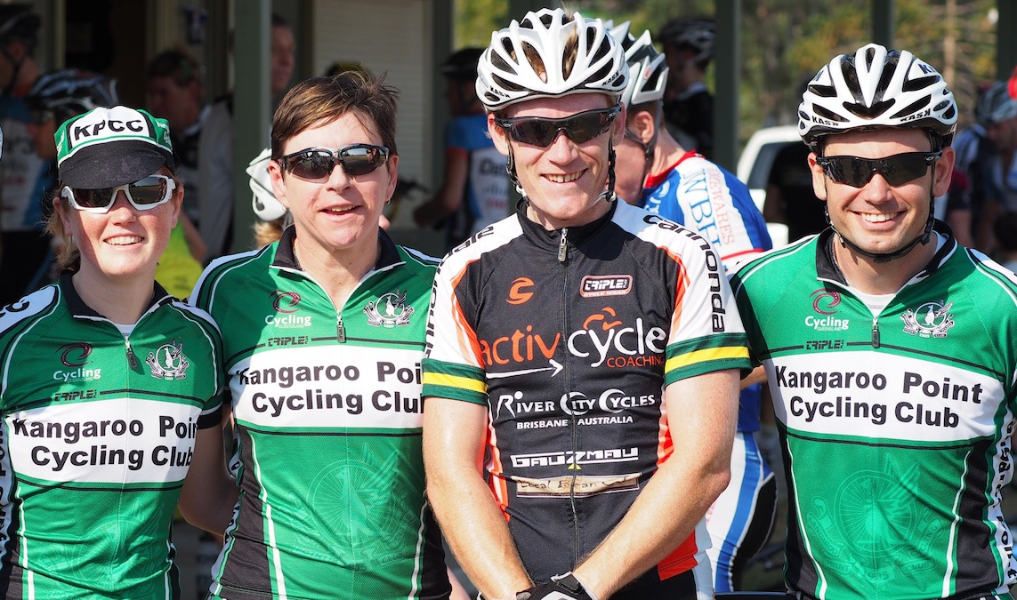 Matthew Payne (Team ActivCycle Coaching for KPCC) with club mates showing off National Champion Bands for his win in the 2012 National Championships Road Race (Masters 1-3).