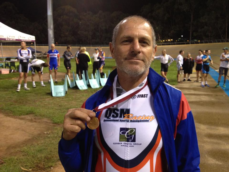 TeamKP's IanC riding for @QSMRacing with his bronze medal from the @QLDcycling masters track champs!