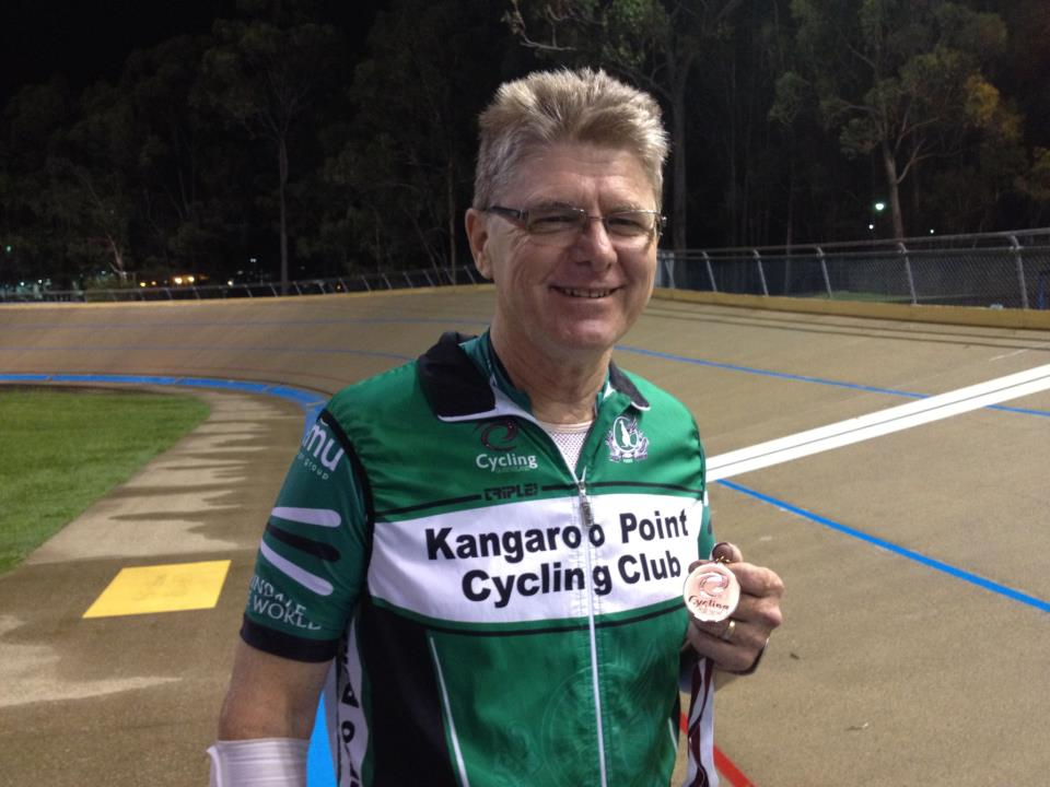 TeamKP's JimC with his bronze medal from the @QLDcycling masters track champs!