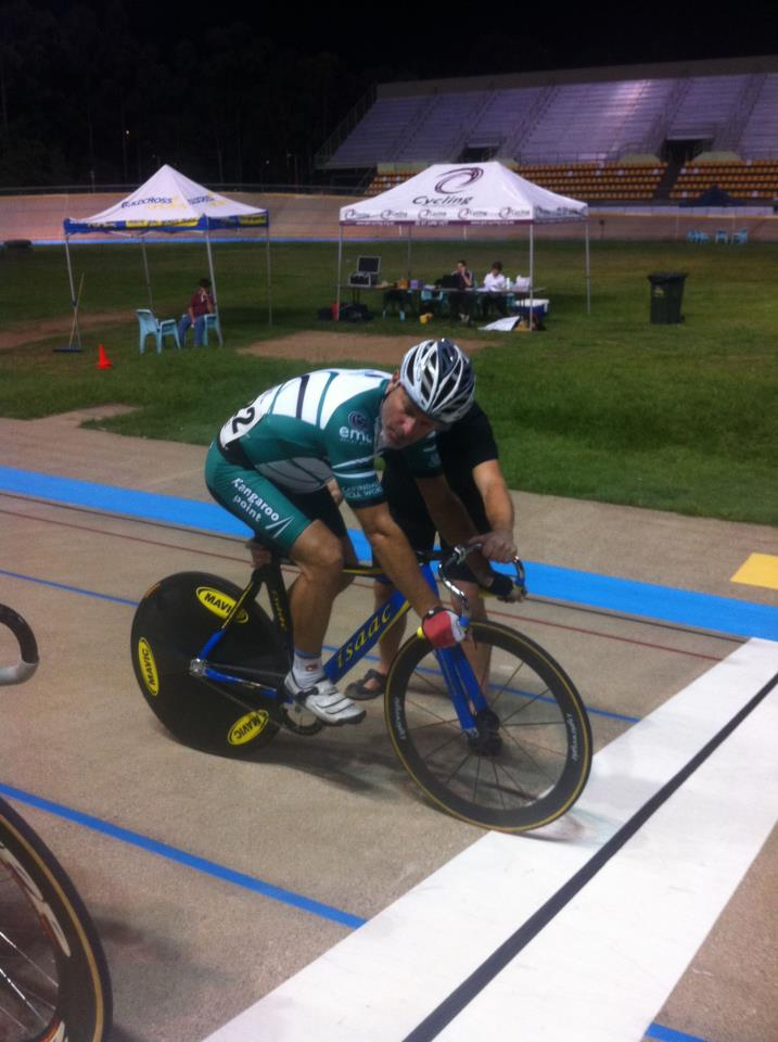 IanC (@QSMracing for TeamKP) on the start line for race #2 in the MMAS5-6 Sprints at the @QLDcycling #QLDmasters