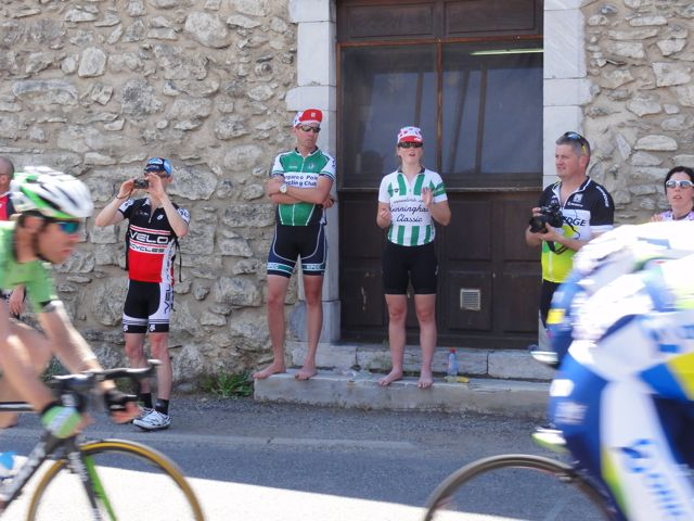 Claire and Aaron have prime spots for watching the riders come through the town of Guchen.