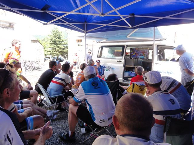 After the race has passed, we all head back to the catering tent to sit and watch the rest of the stage. Lesson learned though... we parked the bus on the wrong side of town and spent five hours, instead of two, getting back to the hotel!