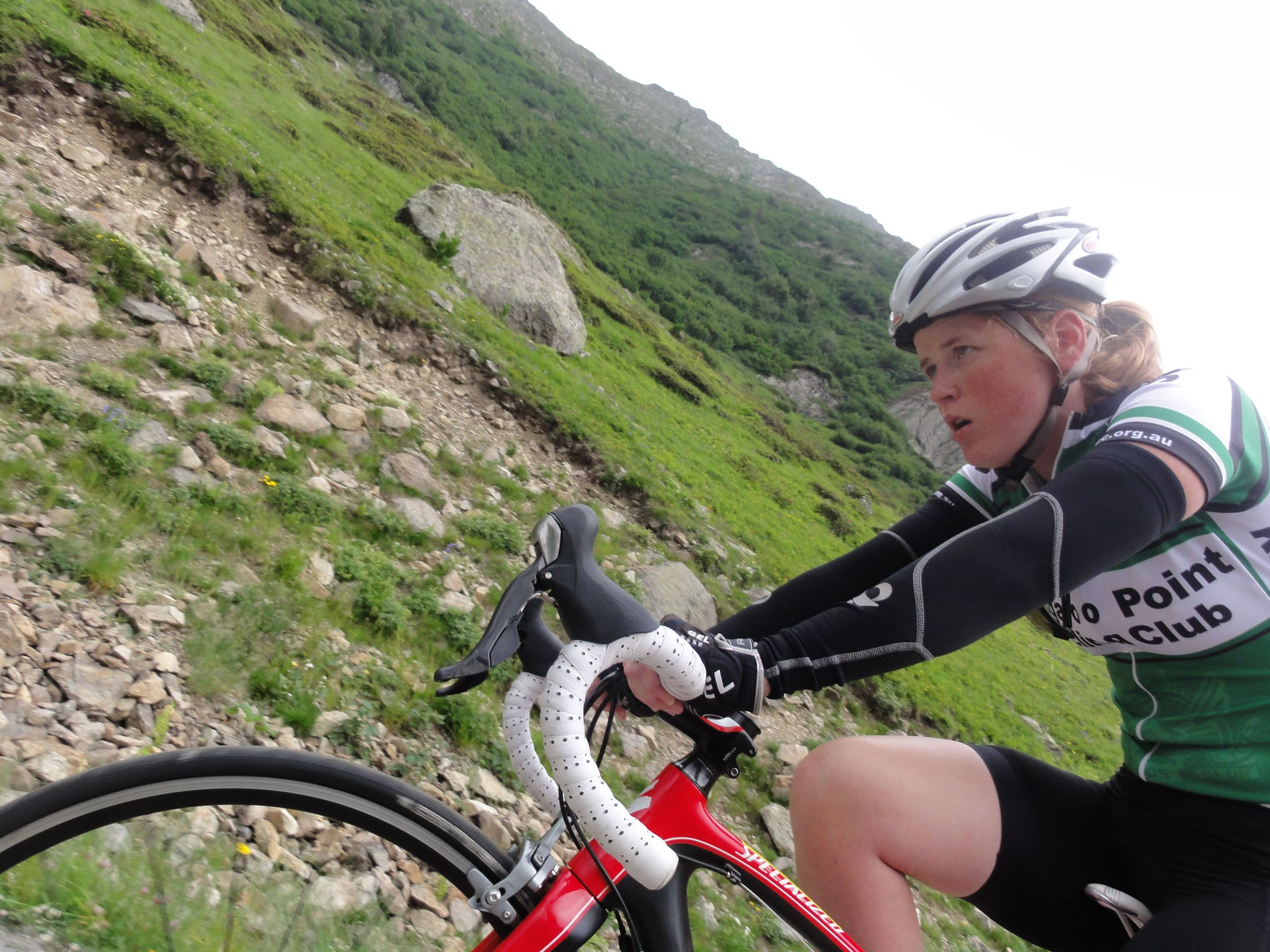 Don't be mistaken about how hard these climbs really are! Claire might be smiling in half of the photographs... but this is the gritty reality of how hard it is!