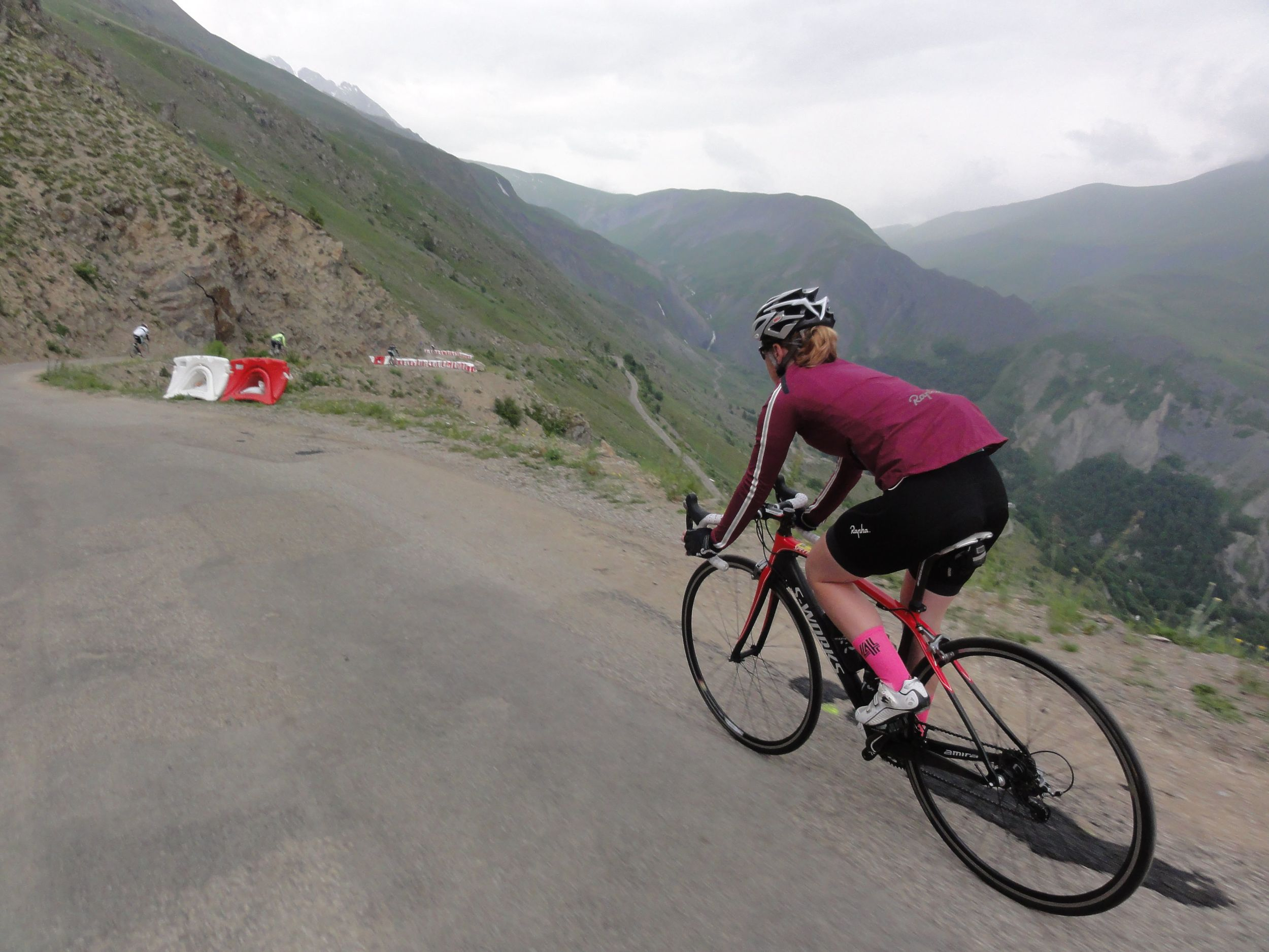 The Col de Sarenne descent is a bit like the Samford Goat Track, only steeper, faster, five times as long and rougher... scary stuff!