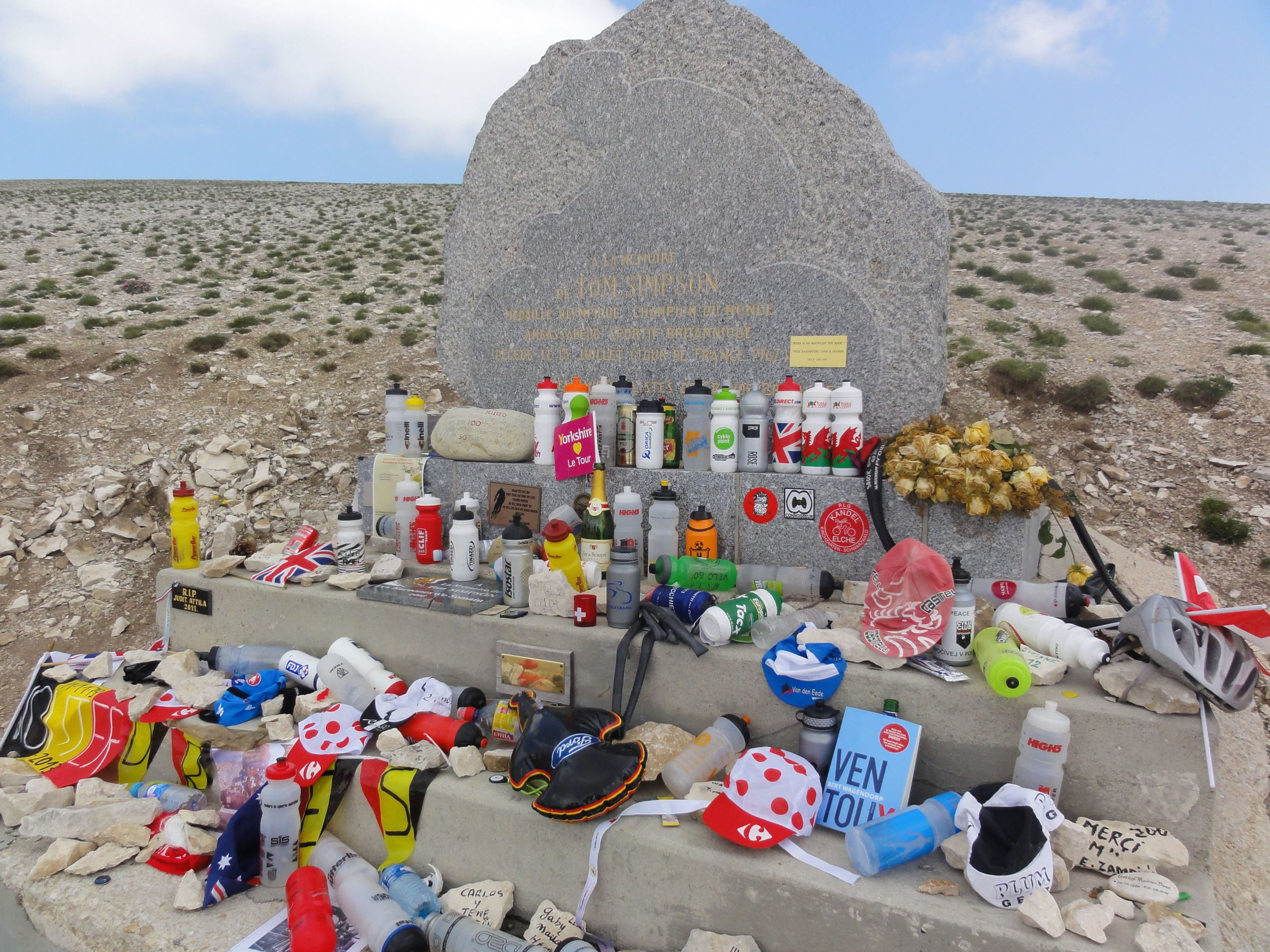 Tom Simpson's memorial is not far from the top.  People come by all year and leave little bits and pieces in hommage to the sport.