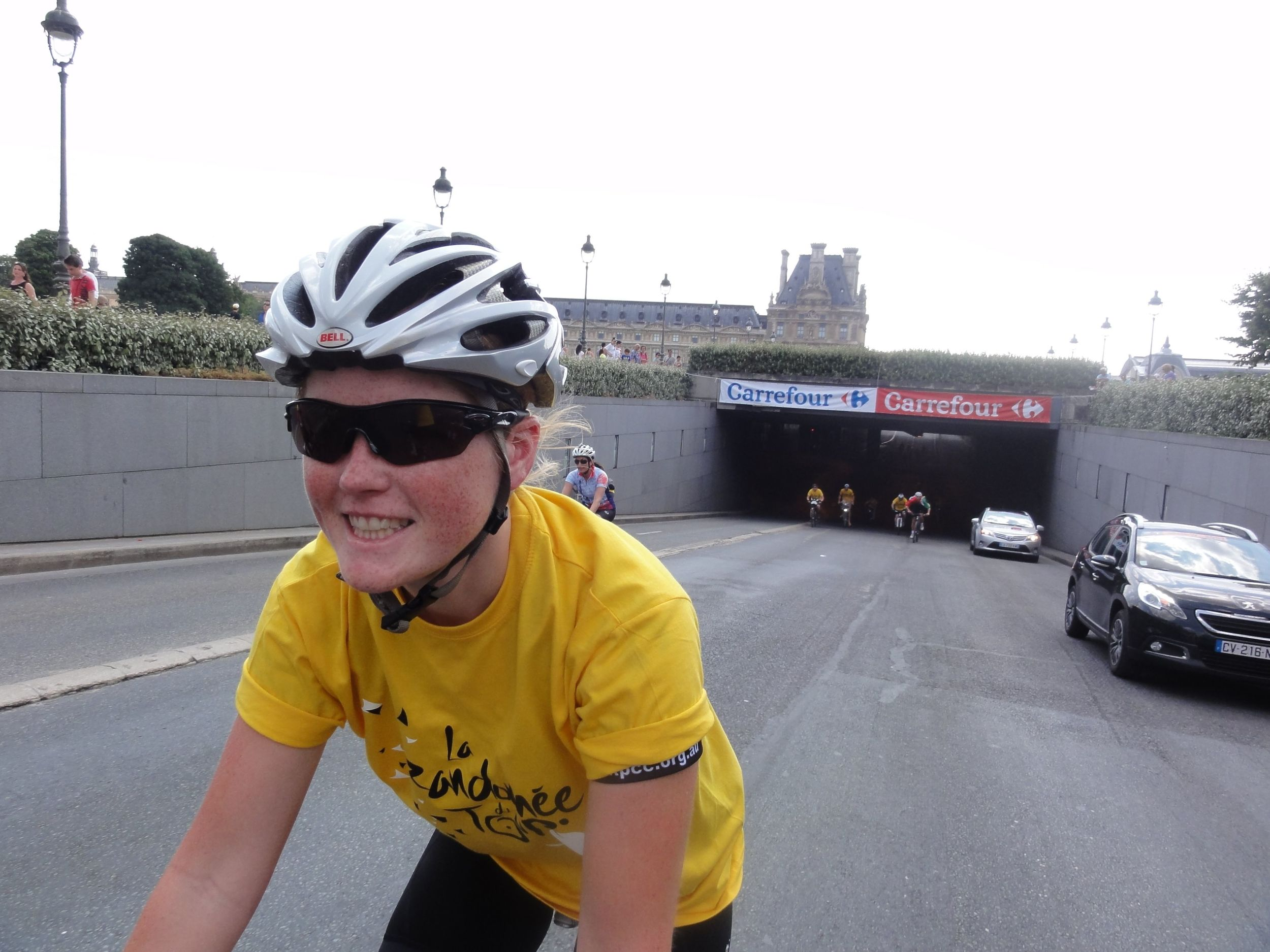 Claire coming out of the tunnel- all smiles. Just as I imagine Froome was when he came out of that tunnel for the final time this year!