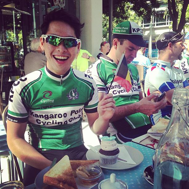 """Winner of the inaugural Ronde van Brookfield-gem-beek-berg Dom """"Maxime Arnoud"""" Doan enjoying his prize! (in the backgound is Captain Cam... who is once again stumped by technology!)"""