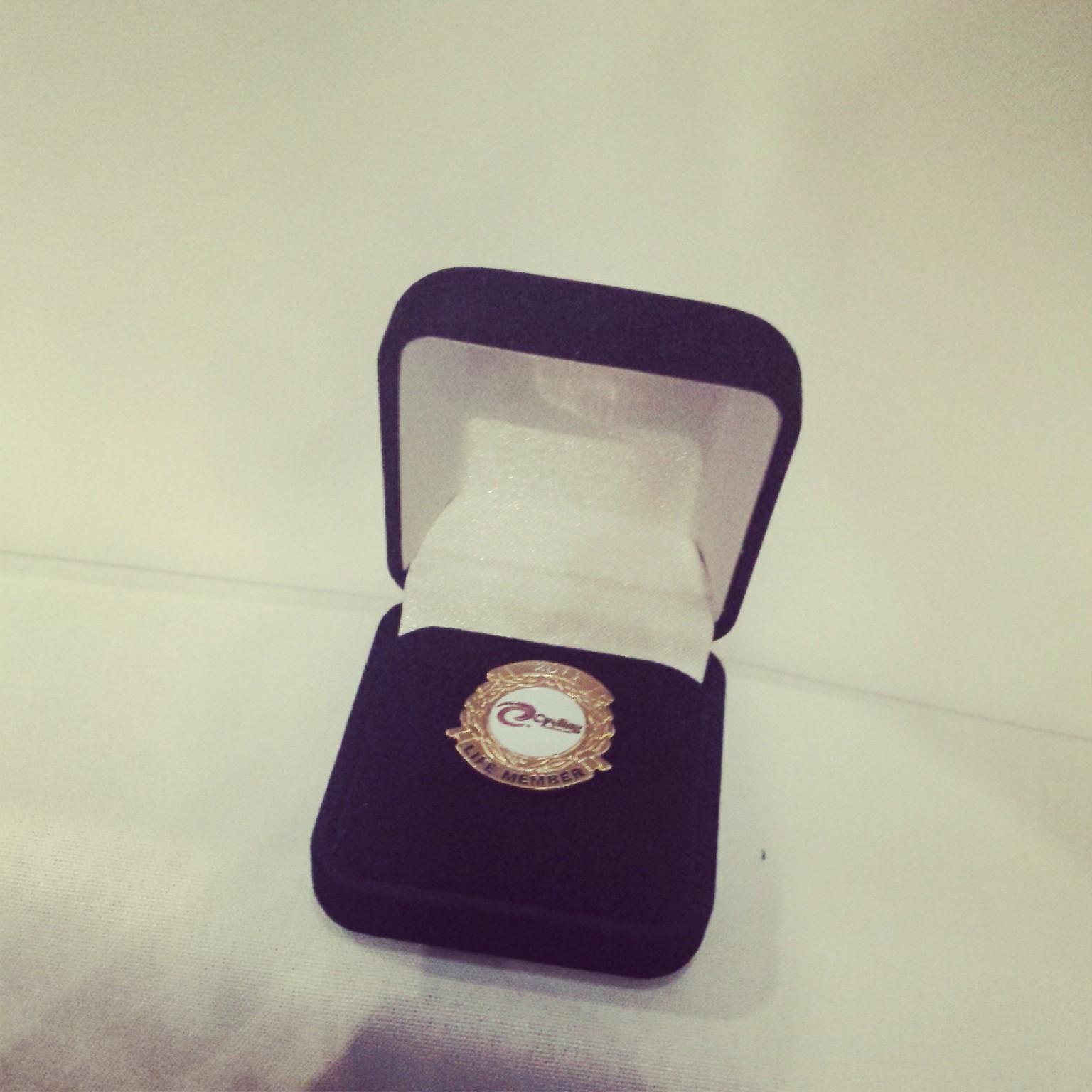 Mr Peter Rasell's Life Membership pin.