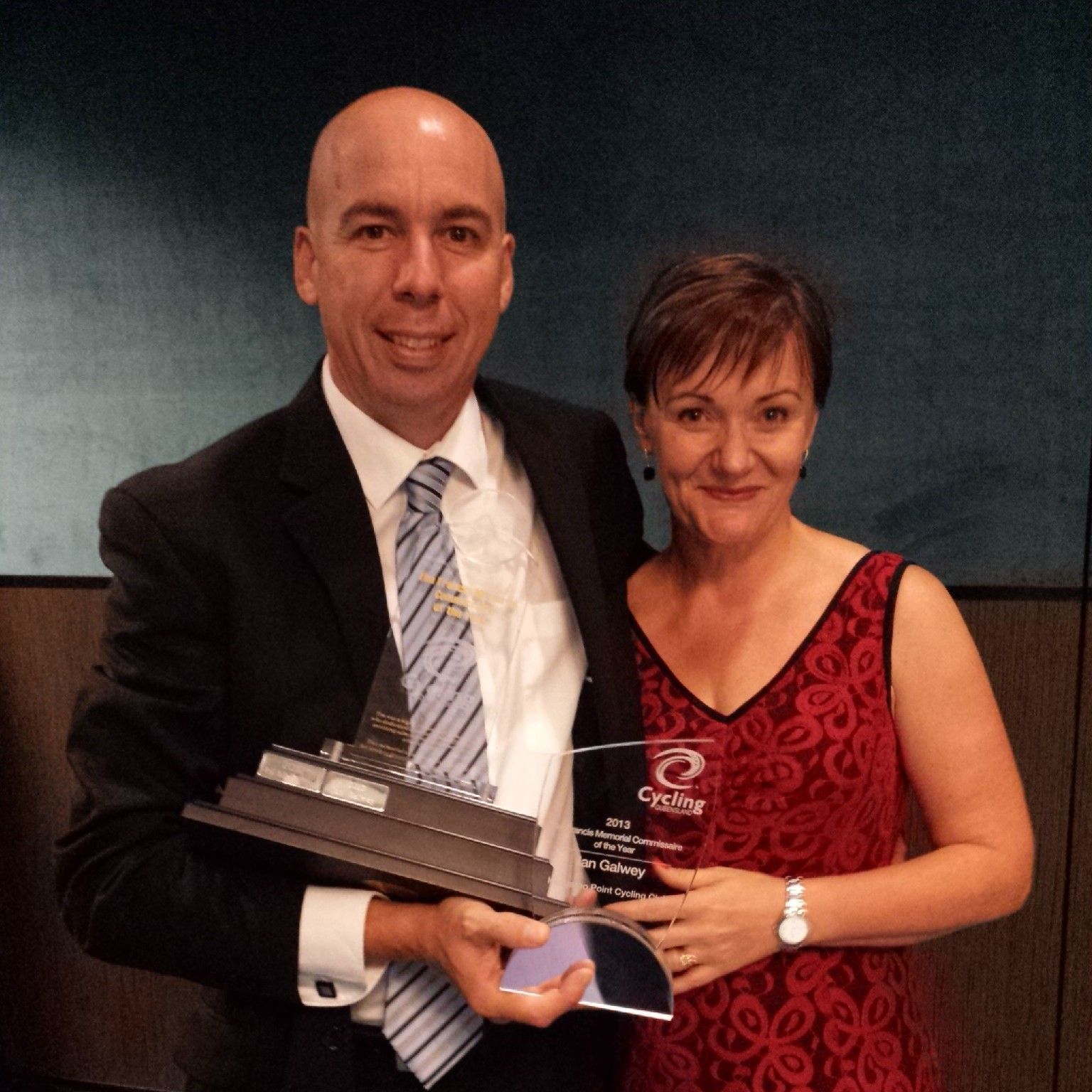 Mr Ian Galwey pictured with wife Annette was awarded Cycling Queensland Commissaire of the Year.