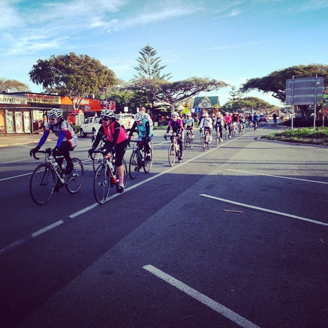 Rolling through Wellington Point, it was a great sight for the many local cafe patrons to see so many women out riding together!