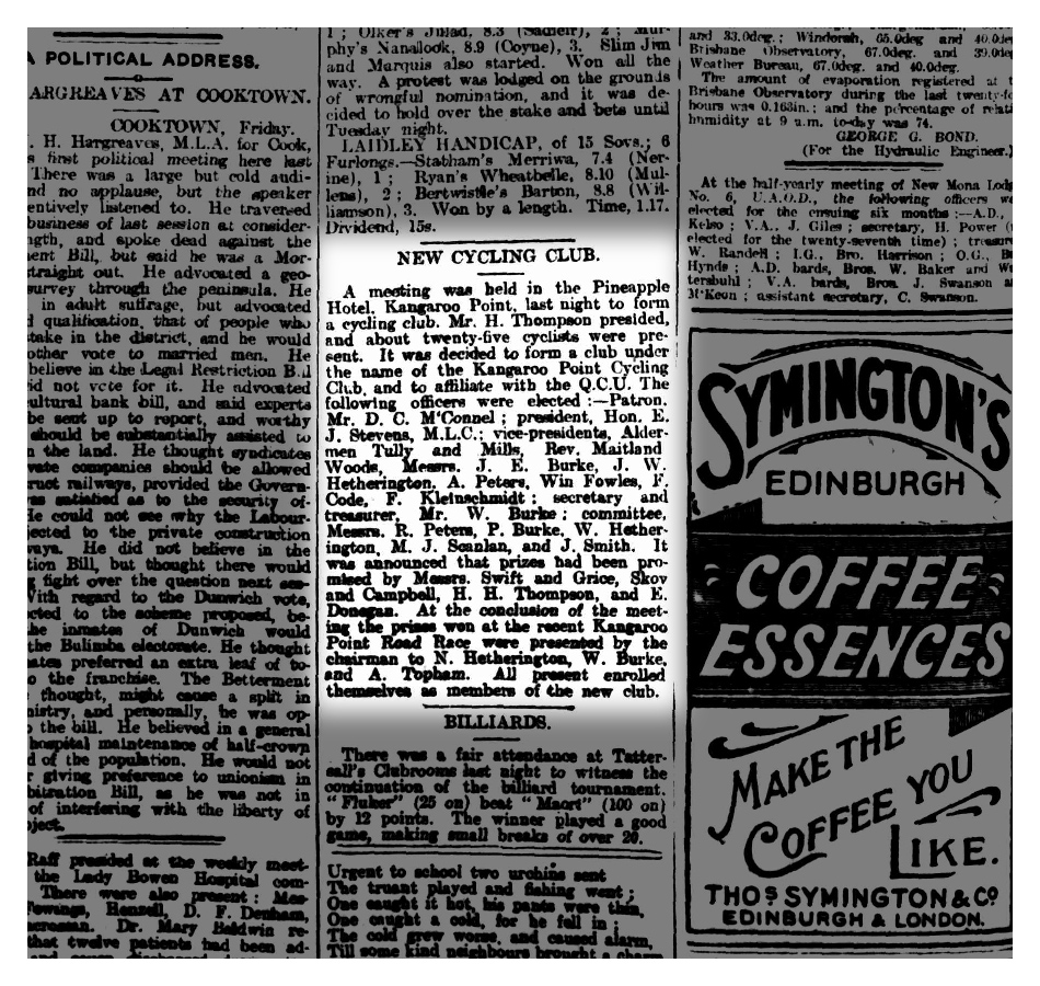 New Cycling Club Notice, The Brisbane Courier, Saturday 15 July 1905.