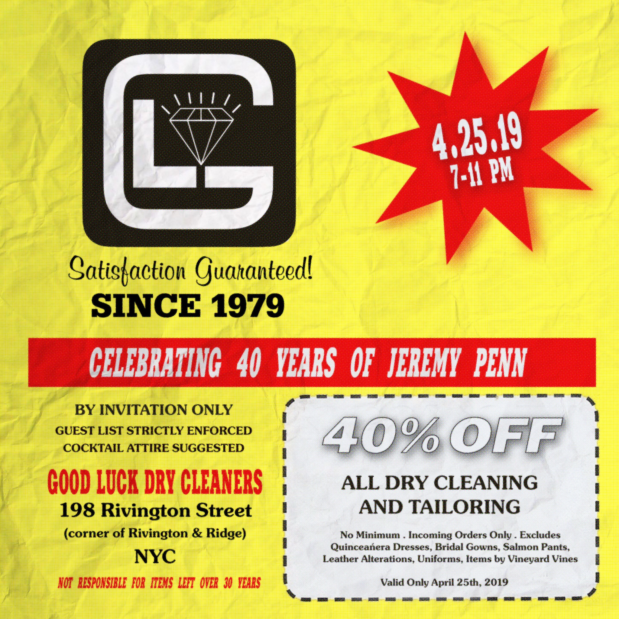 Good luck dry cleaners - April 25 2019