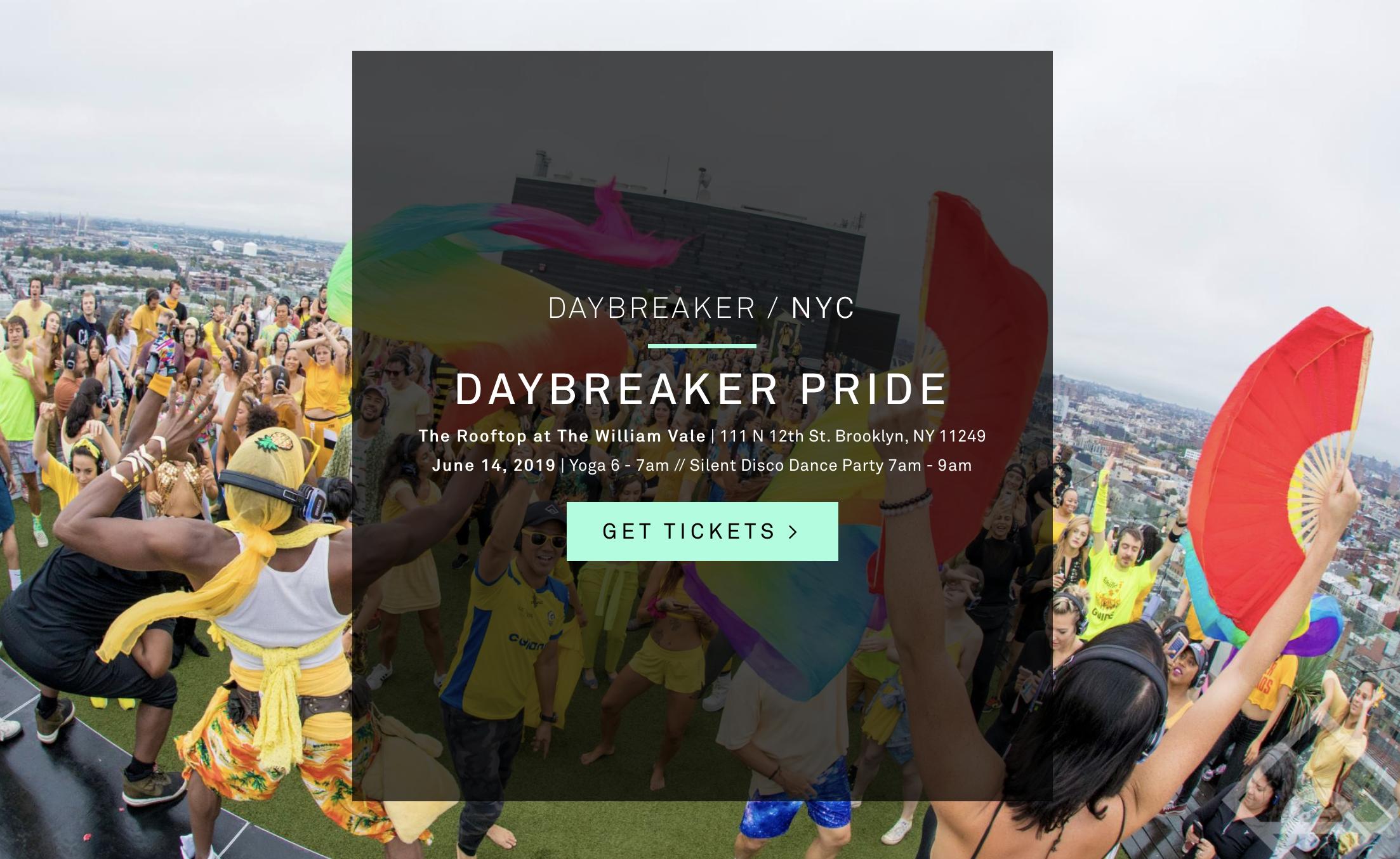 Daybreaker Pride - June 14 2019The William Vale Rooftop, Brooklyn