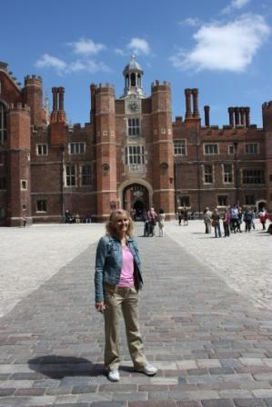 At Hampton Court, outside London, one of Henry VIII's fave palaces – tons of great history here, and fabulous historical re-enactors.