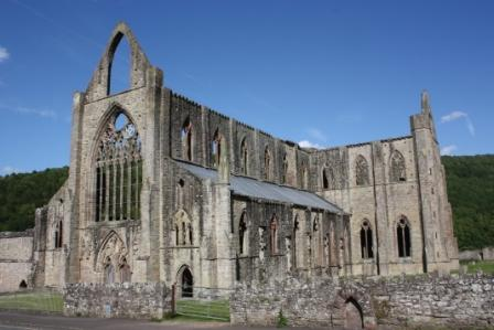 The ruins of Tintern Abbey in Wales, dating from the 1300s.
