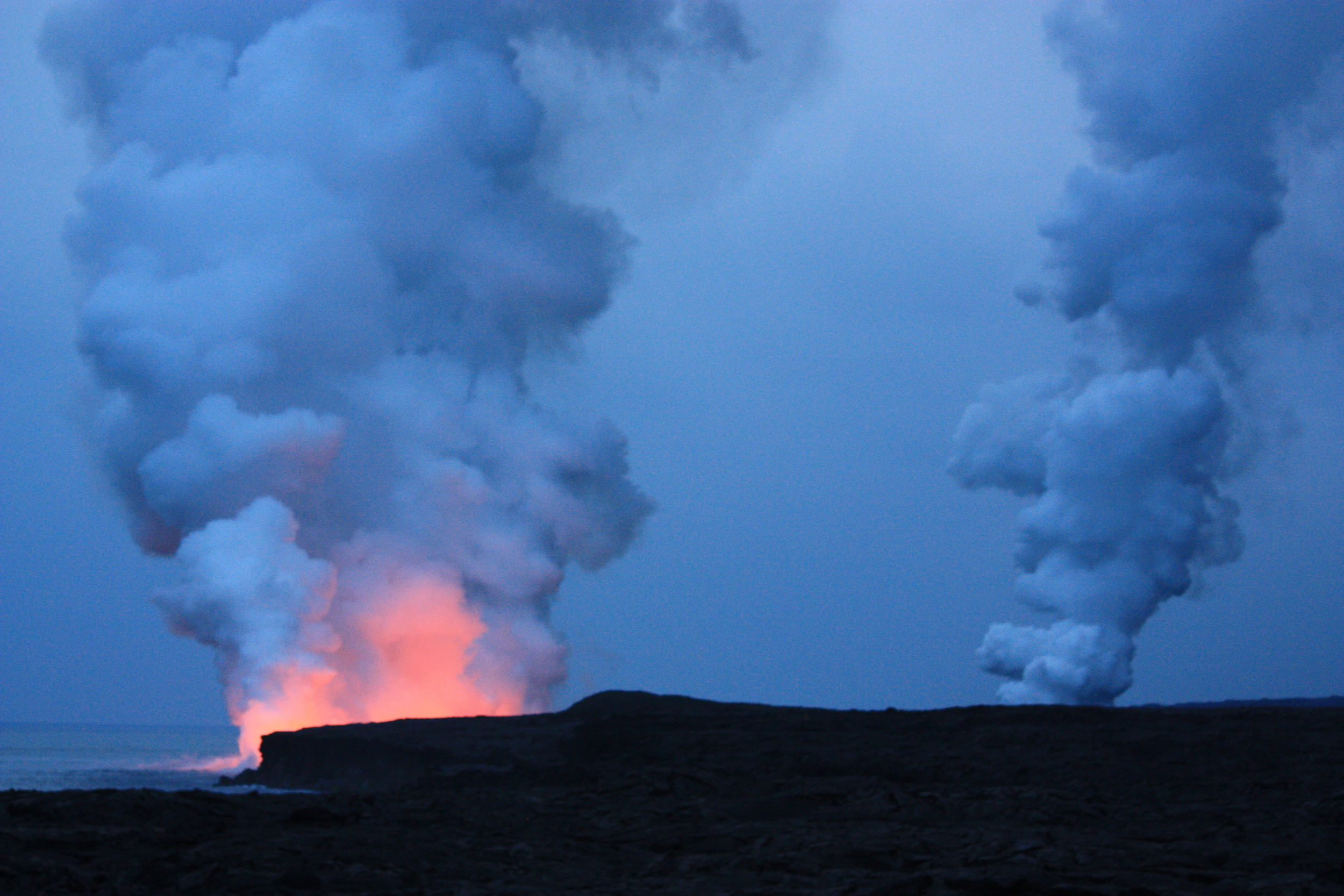 The glow of lava at the current eruption site of Pu'u O'o – this is as close as the public is allowed to get at this time, but it was still pretty cool.