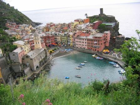 Vernazza from the trail above, leading to the next town.
