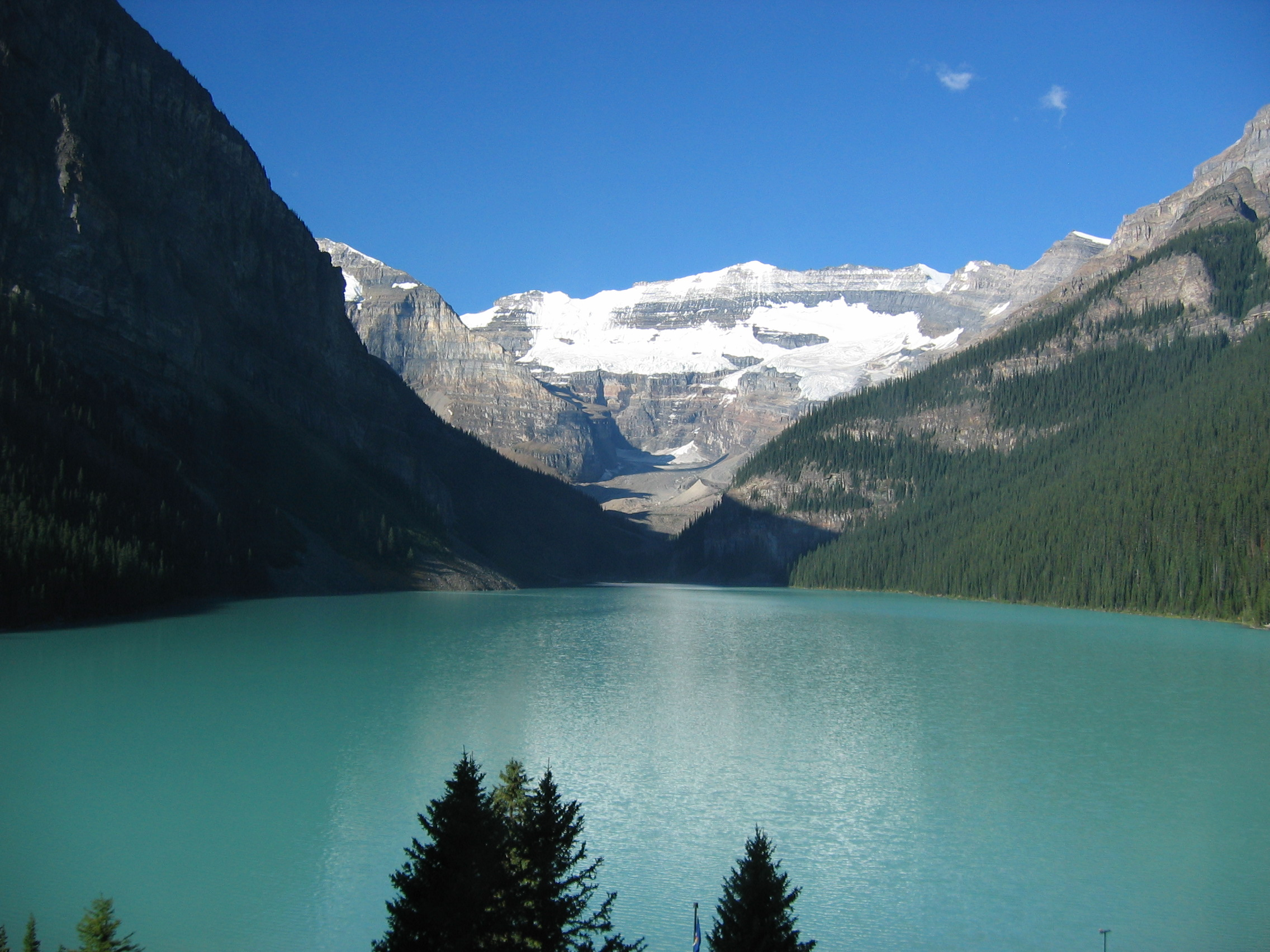 This is literally the view from our hotel window of Lake Louise, with Victoria Glacier in the distance.