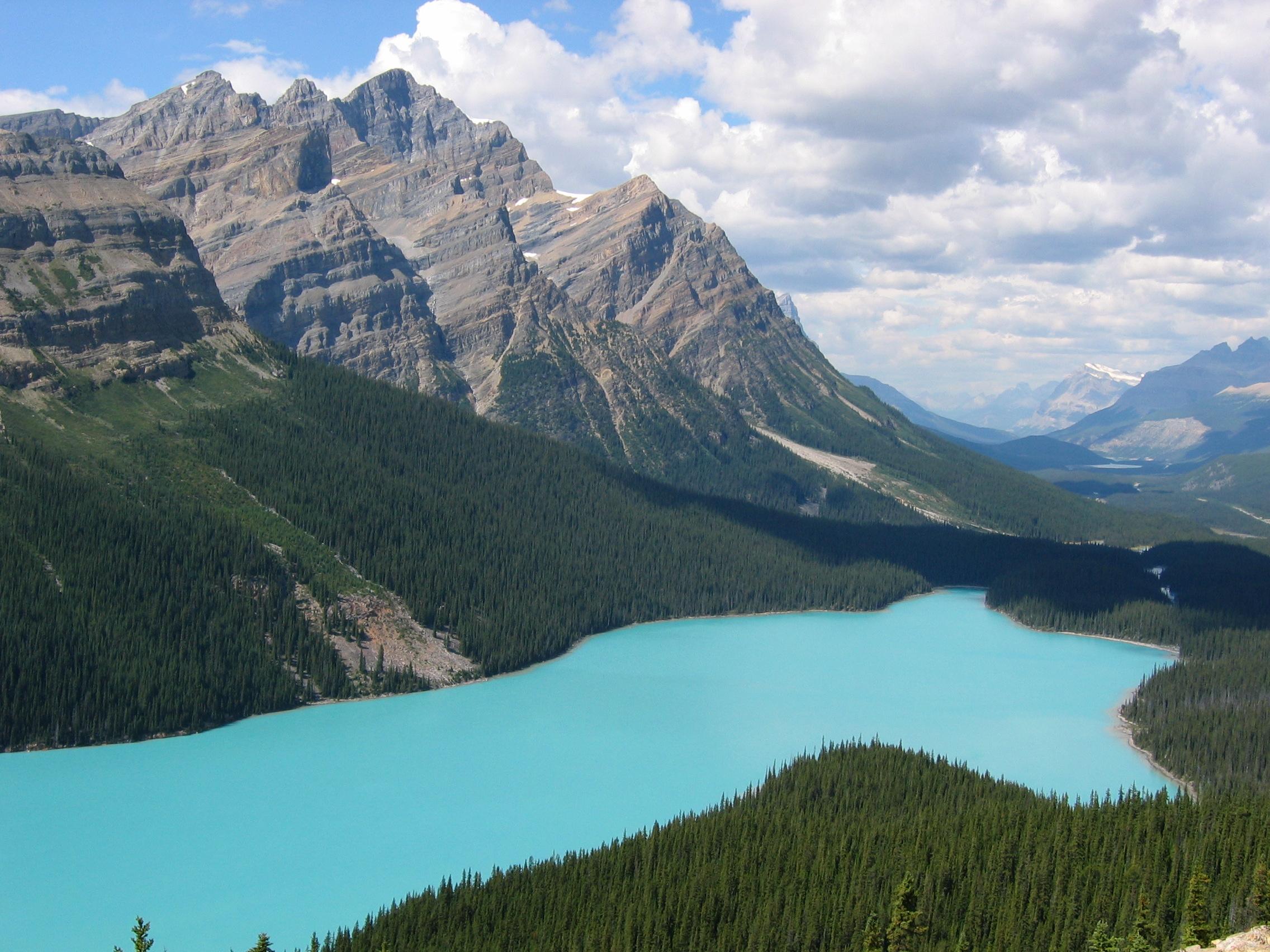 This is Peyto Lake – can you see the bear or wolf shape in it? (The head is to the right of the picture.) And yes, the water really IS that color.