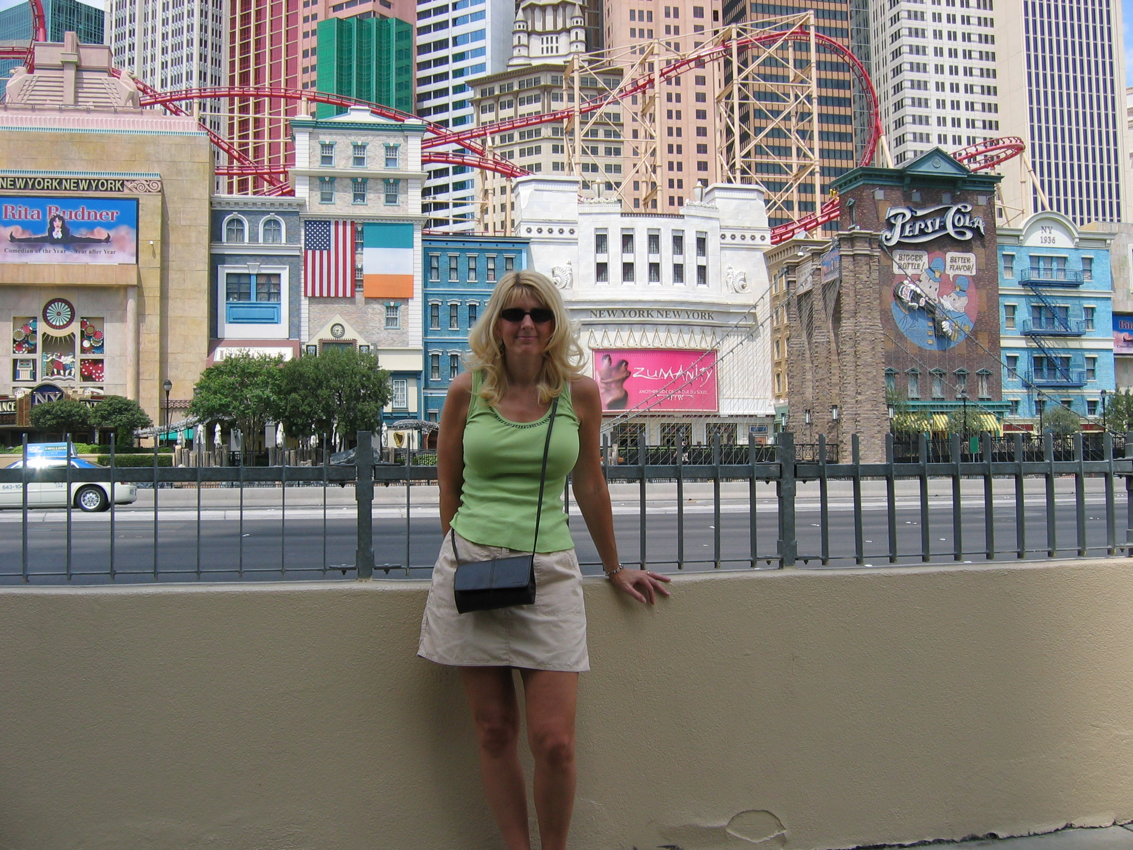 Here's Toni in front of the New York New York Hotel on the Las Vegas Strip.