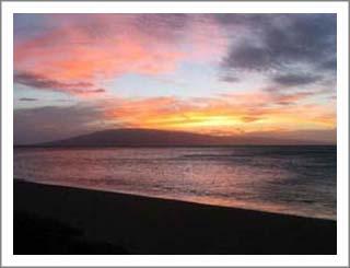 A beautiful sunset over Lanai.