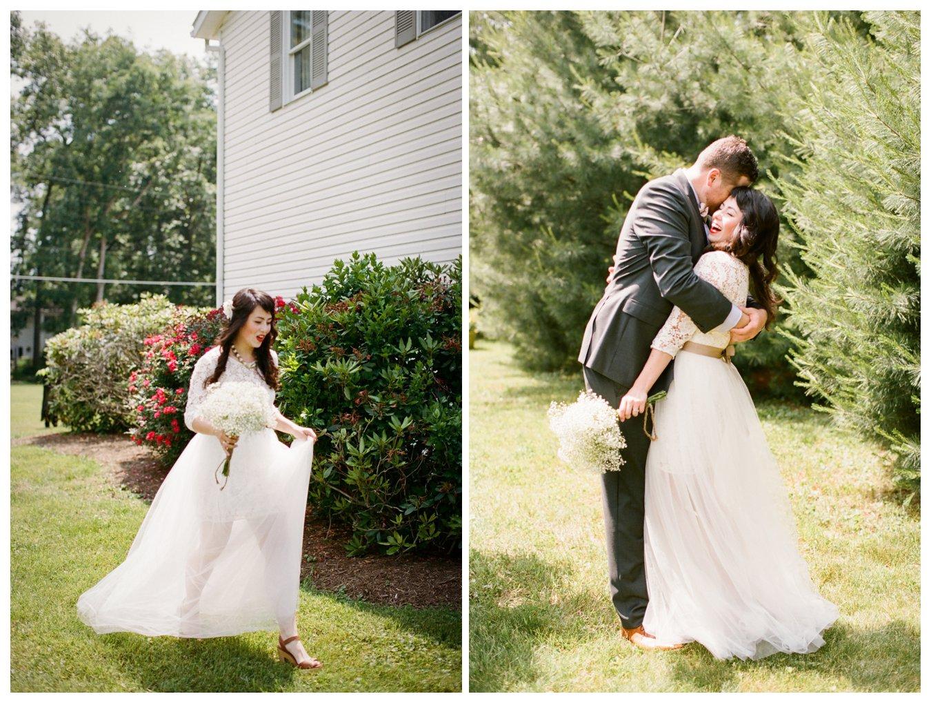 Fine Art Film wedding photographer Columbus Ohio Lily Glass Photography. Madewell Wedding dress, first look