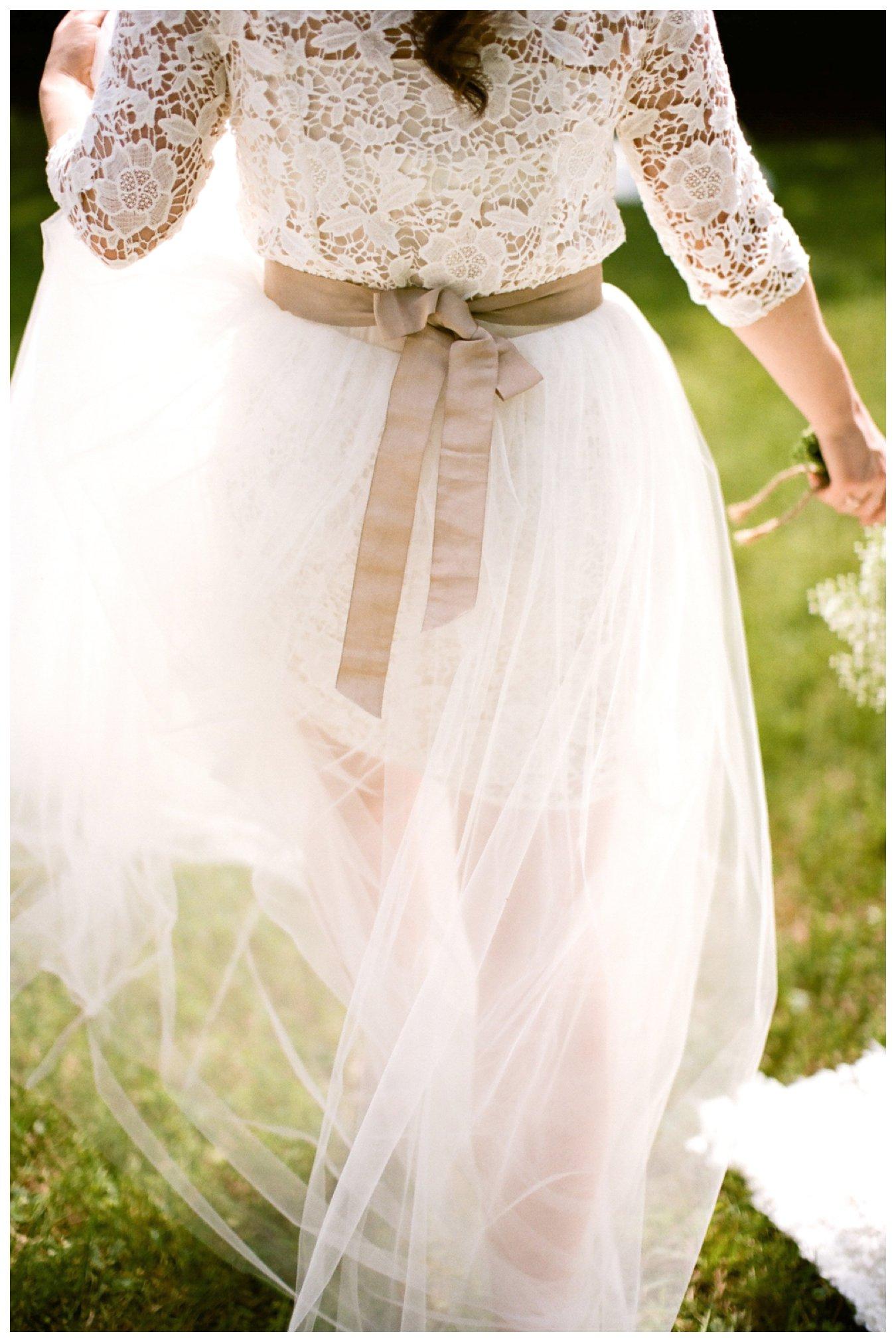 Fine Art Film wedding photographer Columbus Ohio Lily Glass Photography. Madewell Wedding dress, Otis James Bow-tie, first look