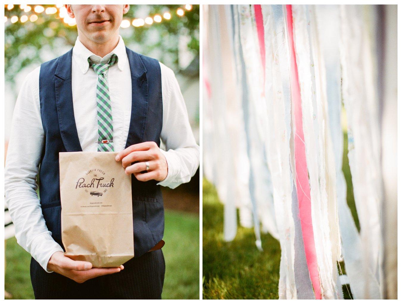 Fine Art Film wedding photographer Columbus Ohio Lily Glass Photography. Madewell Wedding dress, Otis James Bow-tie, first look. Picnic Wedding