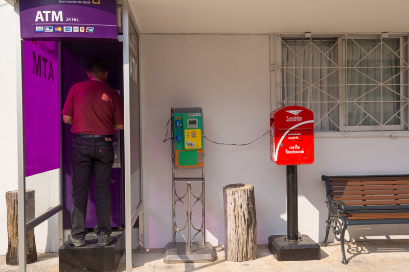 Atm, phone, post office - in Chiang Rai, Thailand.
