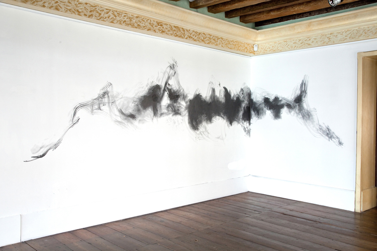 Brendan Lynch  Untitled  2012  Graphite powder on wall  Dimensions variable