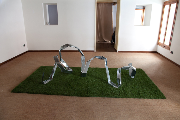 Dylan Lynch  Snake in the Grass  2012  Synthetic turf, steel studs  Dimensions variable