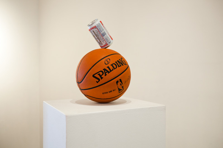 Dylan Lynch  Gettin' Buff 2011 Partially drank beer can balanced on basketball Variable