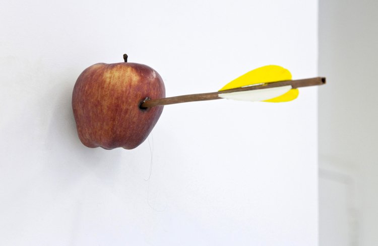 Louis Eisner  2010  Apple, copper, feathers and human hair  Dimensions variable