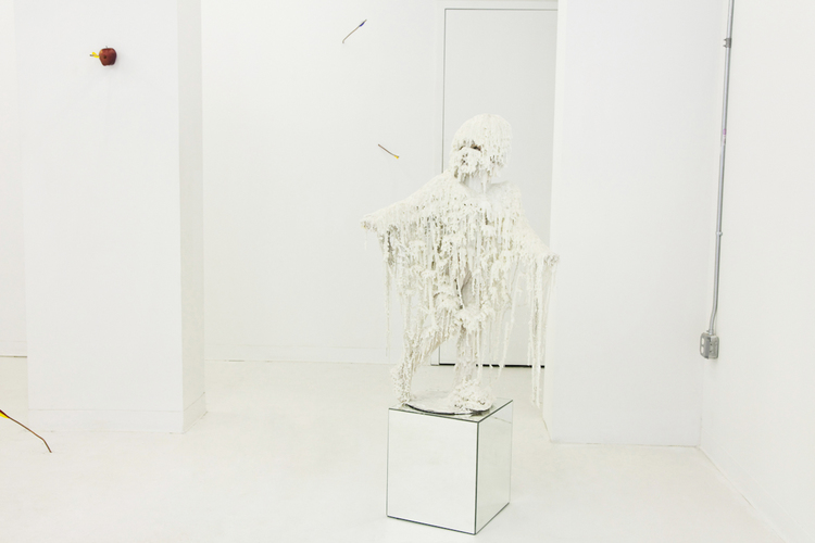 Jane Moseley  Wax Baby  2009  Wax, synthetic hair, expandable foam and mannequin  Dimension variable