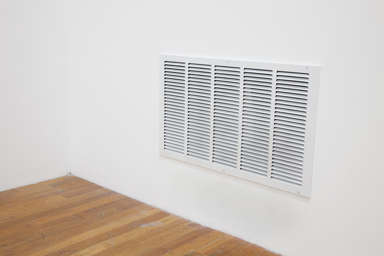 From The Making Room  2012  Wall vents, fan, studio air/particle  Dimensions variable