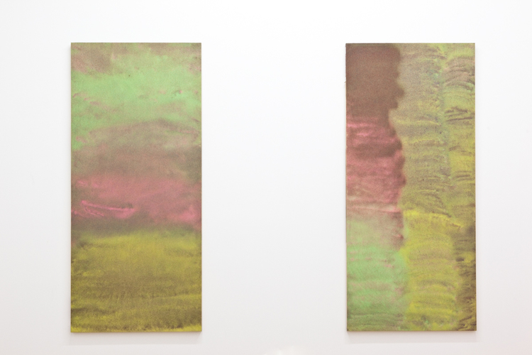 Medium Pour (Pumped on Life I and II)  2011  Colored sand and glue on wood  36 x 80 inches