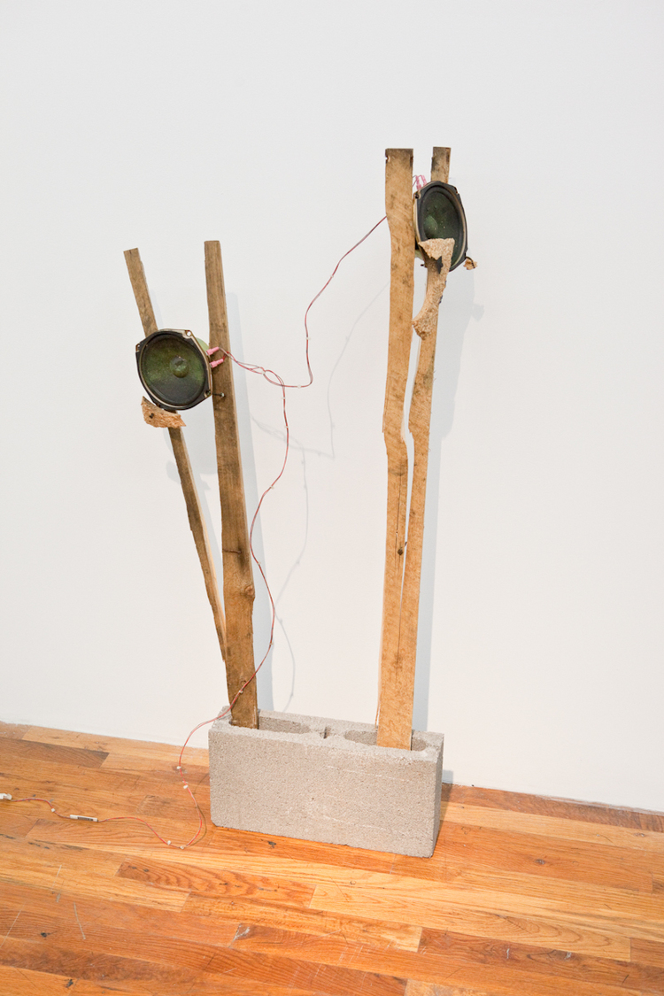 You Break It/You Bought It  2011  Cinderblock, found wood, and arcade game speakers  Dimensions variable
