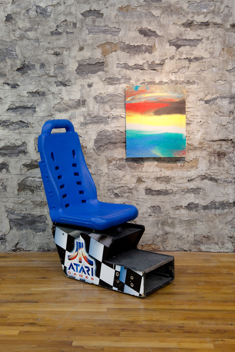 Golden Years  2011  Arcade game chair and colored sand and glue on wood  44 x 20 x 48 inches and 20 x 24 inches