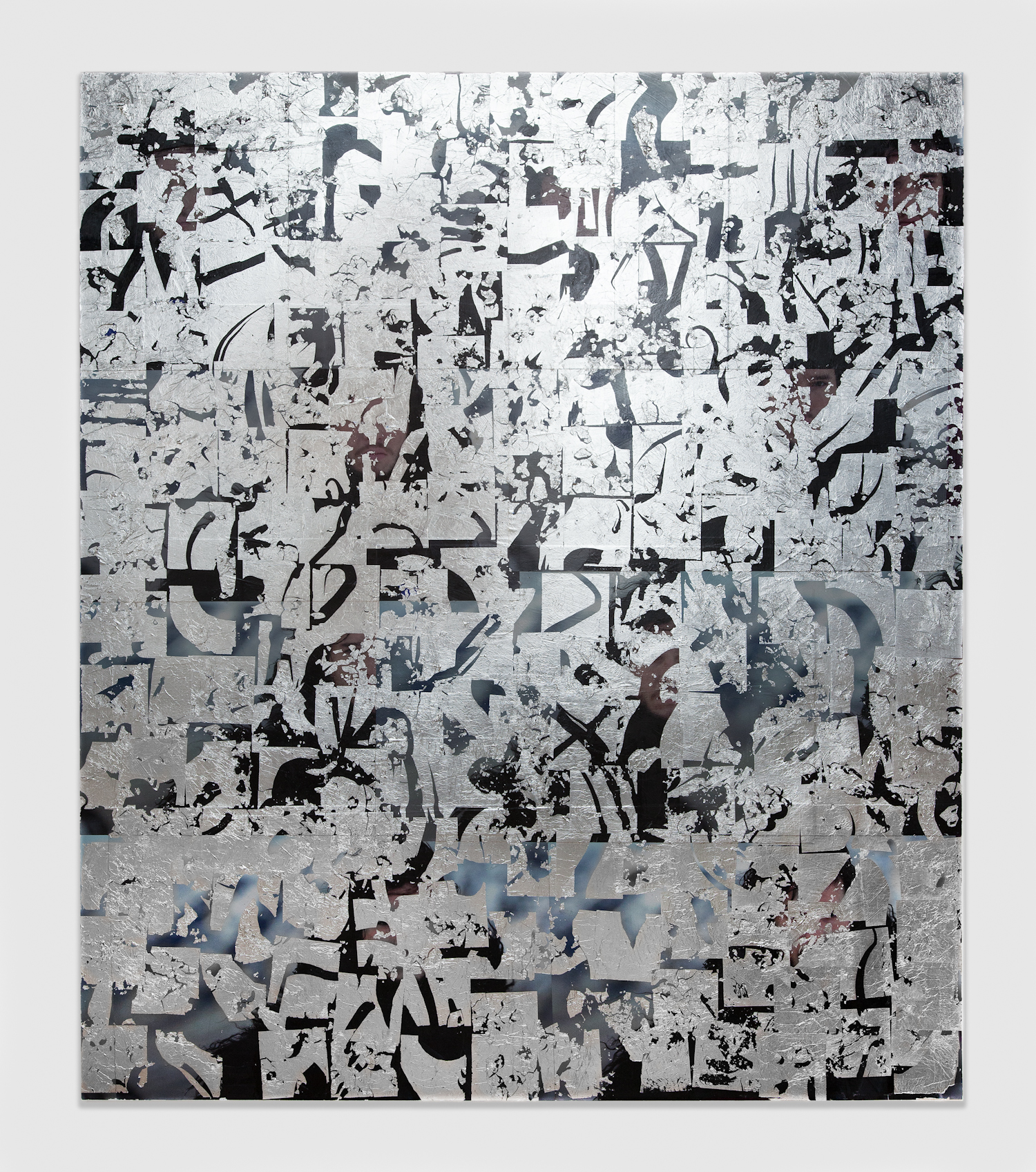 Brendan Lynch  Lord Snow  2013 Posters, aluminum leaf, matte medium and paint on wood panel 84 x 72 inches