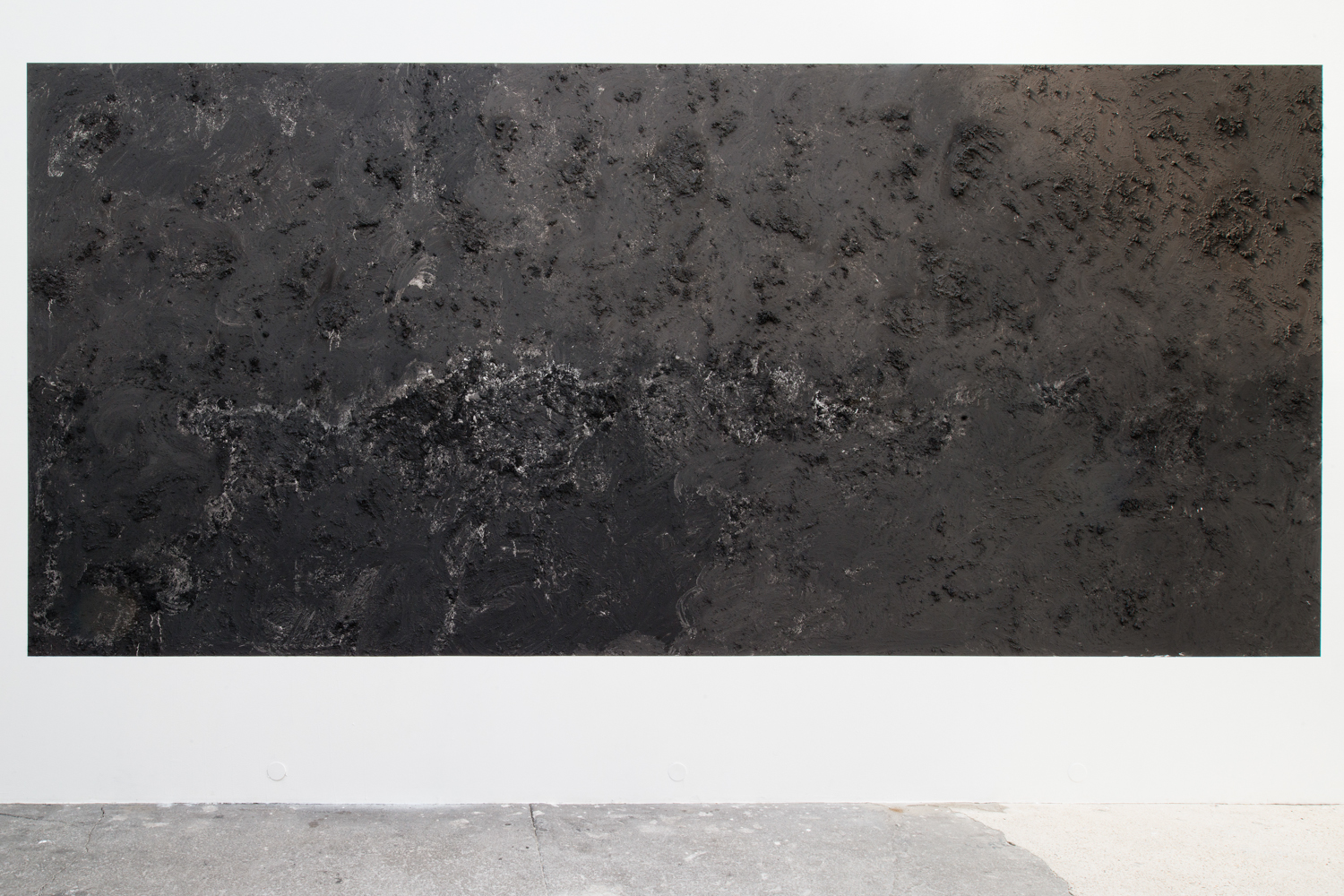 Brendan Lynch It Took Time to See 2013 Cigarette ash applied to wall 236 x 110 inches