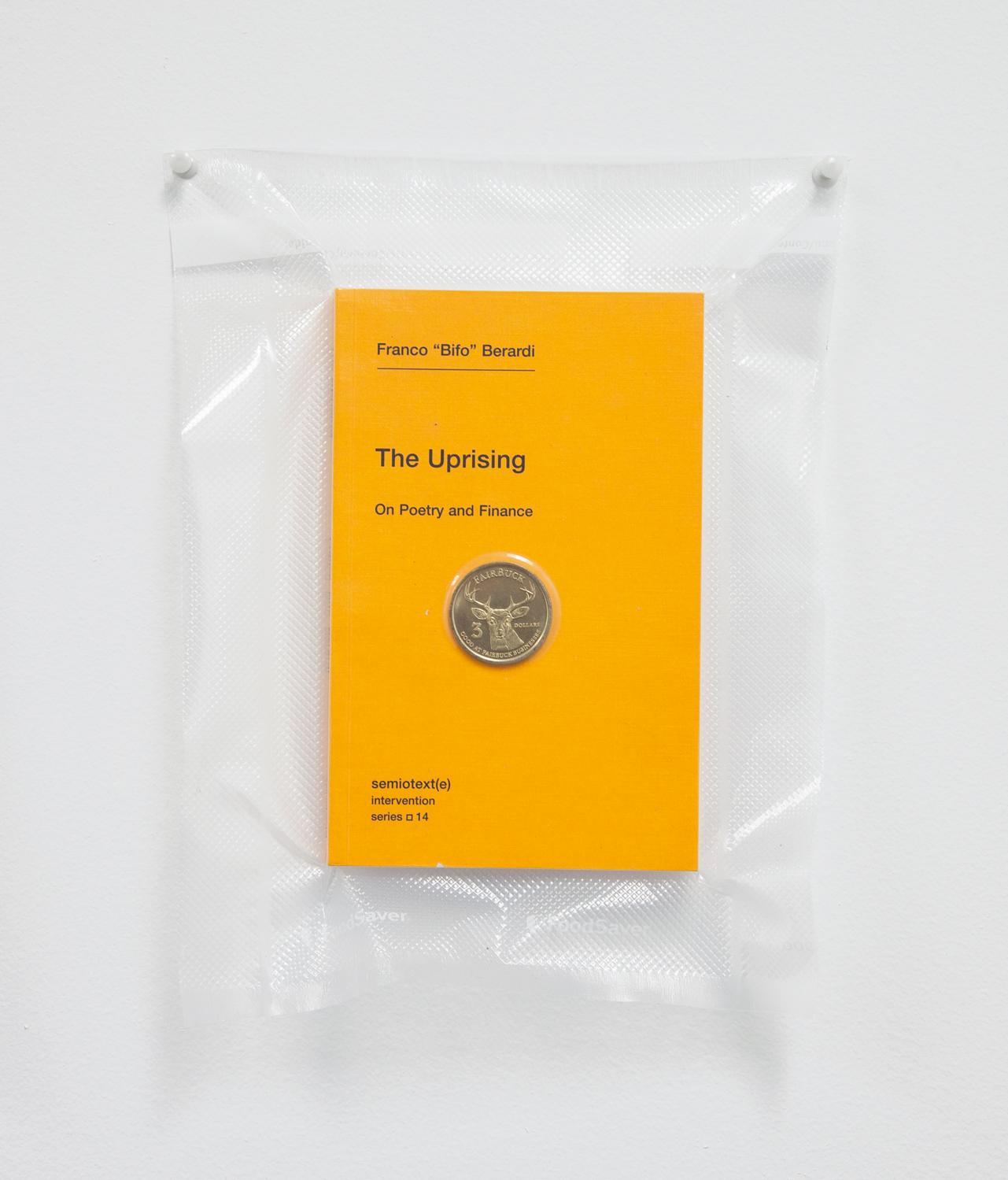 Brad Troemel   TSA No Fly List Vacuum Sealed Bifo - 'The Uprising' with Fairfax, California $20 Buck time/labor barter coin  , 2013   10 x 8 inches