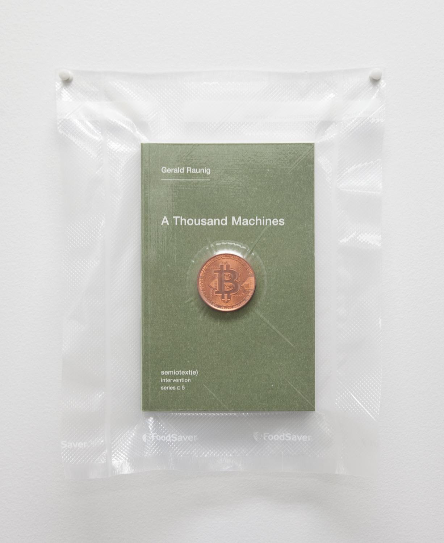 Brad Troemel  TSA No Fly List Vacuum Sealed Gerald Raunig, - 'A Thousand Machines' with AOCS, copper Bitcoin  , 2013     10 x 8 inches