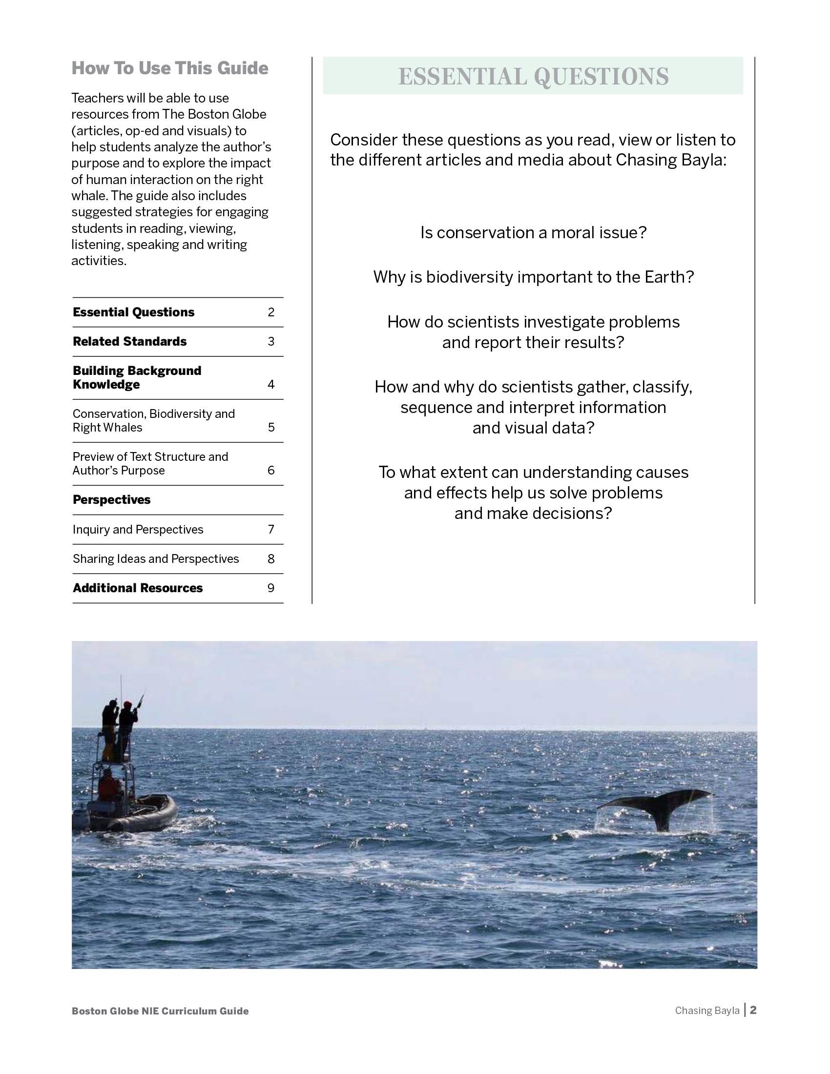 Boston Globe News in Education curriculum guide
